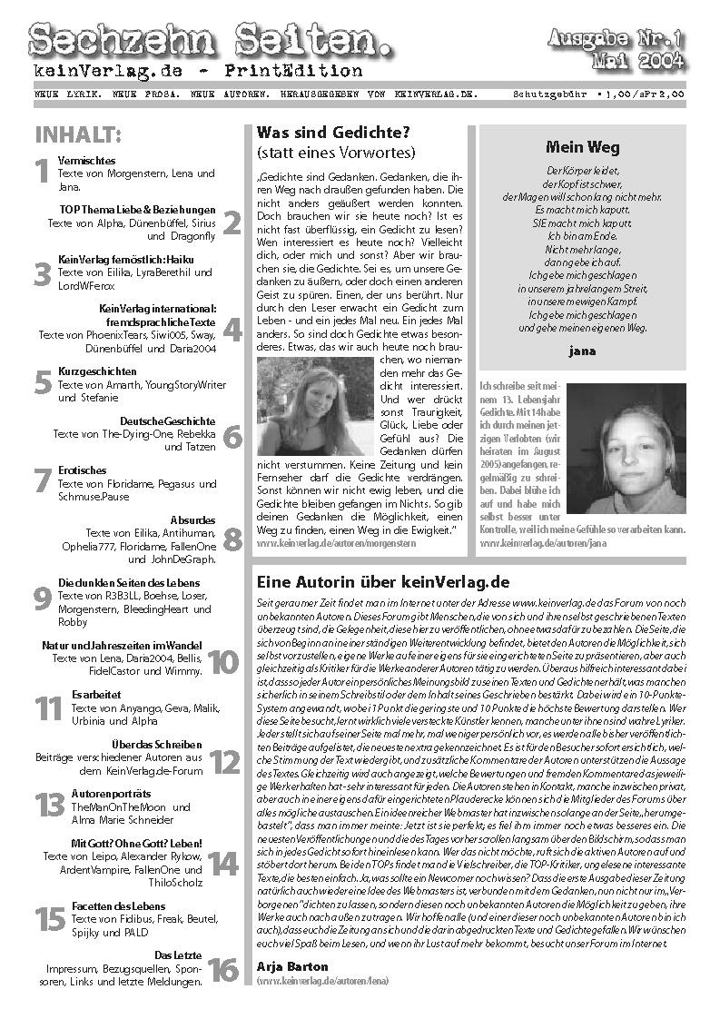 Die erste Ausgabe der 16 Seiten, Mai 2004.